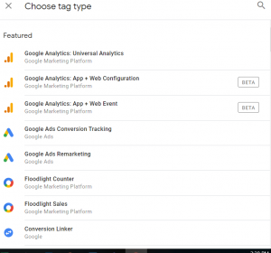Google Tag Manager - Set Tag Types