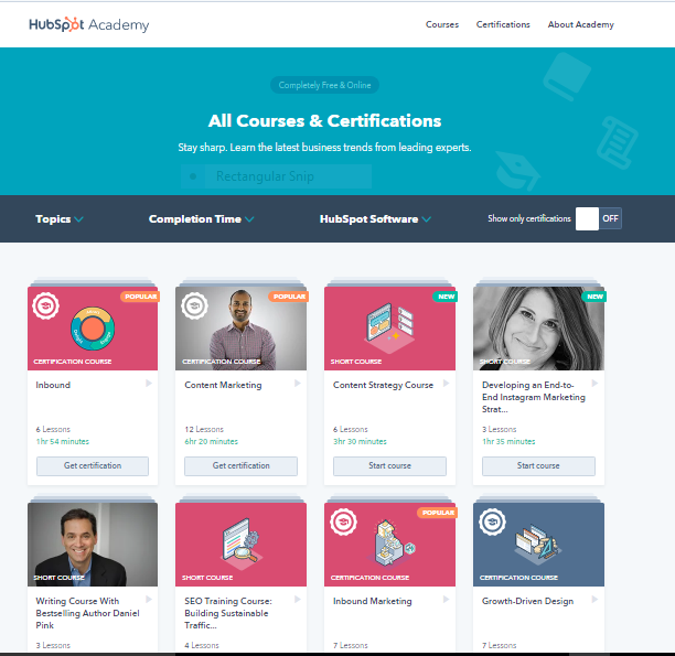 HubSpot provides certification courses to market the product