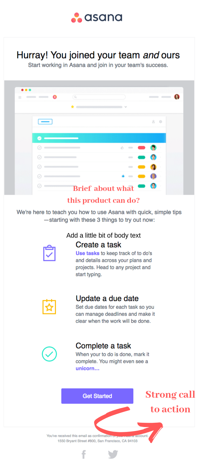 welcome email for product trial