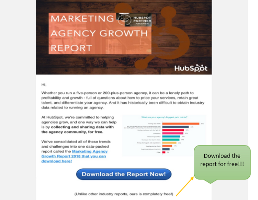 hubspot let you download the marketing growth report for free