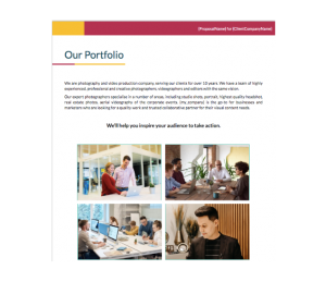 Corporate Photography Proposal Template - Portf
