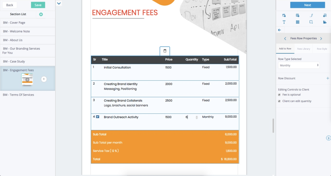 Fresh Proposals Software - Interactive Fees Quotation